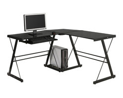 Walker Edison - Walker Edison Soreno Corner L-Shape Glass Top Computer Desk in Black - Walker Edison - Computer Desks - D51B29 - This contemporary desk offers a sleek modern design crafted with durable steel and thick tempered safety glass. The L-shape provides a wedge for more space and the design creates a look that is both attractive and simple. Flexible configuration options allow you to mount the keyboard tray on either side of the desk. Also included are a universal autonomous CPU stand and a sliding keyboard tray. This desk compliments any room and is a great addition to any home office.