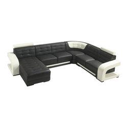 VIG Furniture - Studio - Modern Black and White Leather Sectional Sofa - Studio - Modern Black and White Leather Sectional Sofa