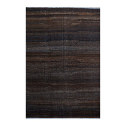 "ALRUG - Handmade Charcoal Oriental Kilim  6' 7"" x 9' 10"" (ft) - This Afghan Kilim design rug is hand-knotted with Wool on Wool."