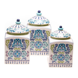 Certified International - Hand-painted Mood Indigo Ceramic Canisters (Set of 3) - Infuse beautiful,refreshing hues of blue and indigo to your living space with this three-piece Mood Indigo canister set. Ideal for storing dry goods or small accessories,this beautiful ceramic set is hand-painted with a floral medallion pattern.