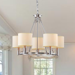 None - Indoor 5-light Antique Nickel Chandelier - Illuminate your home with this elegant five-light chandelier with a metal frame. This beautiful chandelier features light beige shades and a nickel finish. With 40 inches of chain included,the fixture can be customized to any length drop.