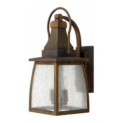 Hinkley Lighting - Trellis Outdoor Wall Sconce - 1430 Trellis Outdoor Wall Sconce is made of Aluminum with a Regency Bronze finish and Clear Seedy glass. Available in an Incandescent or LED version. Incandescent: One A19 type Medium 60 watt 120 volt bulb is required, but not included. LED: One 14 watt 120 volt LED module is included. Dimensions: 7 inch width x 17.3 inch height x 9.25 inch depth. Rated for Wet Locations.