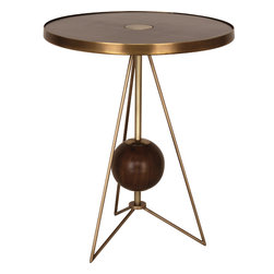 Robert Abbey - Jonathan Adler Ojai Side Table - This side table gives your space a new outlook in a round about way. The open base suspends a walnut sphere for an almost space-age look. Place it next to a chair or on either side of your couch for a mod touch.