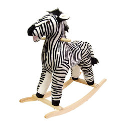 Happy Trails - Zebra Plush Rocking Animal - Recommended Weight Limit: 80 lbs.. Seat Height: 19 in.. Ages: 2 years and up. Color: Black/White. 28.75 in. L x 12 in. W x 28 in. H (9 lbs.)