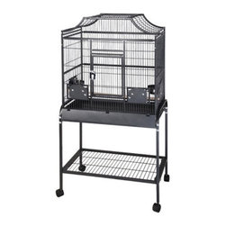 A and E Cage Co. - A&E Cage Co. Elegant Style Flight Bird Cage 2818 - MA2818FLBLACK - Shop for Bird Cages and Stands from Hayneedle.com! The Elegant Style Flight Bird Cage is the perfect way to let your birds stretch their wings safely and securely. This cage features a bird proof front door and feeder door locks as well as a front door safety latch. It also offers four swing-out feeder doors four stainless steel feeder cups and dual perches. A large front door provides easy access and the slide-out grill tray make cleaning it easy. This cage also has a bottom shelf for additional storage. It's made of durable wrought iron finished in a powder coating that comes in a variety of colors and it also has casters for easy mobility. Cage Dimensions (without the cart) Small Cage - 28W x 18D x 25H inches Large Cage - 32W x 21D x 30H inches About A&E CageThis bird cage is designed and manufactured by A&E Cage Co. LLC. The company is a family-owned and family-operated birdcage company with over 30 years experience in the pet industry. Based in Burlington N.J. A&E Cage offers a wide selection of aviaries bird carriers and bird toys and numerous styles of bird cages to keep your pet birds happy and healthy.