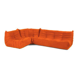 N A Downlow L Sectional Dana Orange Inspired By The Togo Sofa Collection Designed By Michel