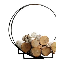 Double Ring Iron Log Holder - Step back in time and enjoy the simple beauty of this forged iron log holder for your fireplace. Both rustic and modern, the blacksmith-style, hand-worked circular sweep and leather strap handle make it a piece that's functional and chic.