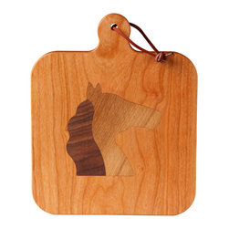 Kentucky Cutting Boards - Cherry Cheeseboard with Horse Head - Saddle up for some fine cheese tasting, you will adore displaying your best runny Brie or Camembert on this cherry wood cheeseboard with a horse head silhouette. Perfect for parties or as a present for fellow foodies.