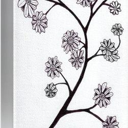 Zen Sumi Flower Branch Black Ink on White Canvas -