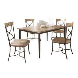 "Hillsdale Furniture - Hillsdale Charleston 5-Piece Rectangle Dining Set with X-Back Chairs - Hillsdale's Charleston collection beautifully combines a rustic desert tan wood finish with a dark grey metal and offers a multitude of choices to create the perfect dining group for your home. Starting with the chairs, you have the choice of three lovely designs: The X-Back chair combines a rustic desert tan top accent with a transitional metal X in the center of the back and a brown faux leather seat. The parson's chair is traditional in design and combines the rustic desert tan finish with the brown faux leather seat. The ladder back chair features 3 rungs in the desert tan finish, enhanced by the dark grey metal and brown faux leather seat. Now that you have decided on your chair, let's look at the table options: The stunning rectangle table features a wood top that is generously scaled to easily accommodate 6. The simple round table features a 48"" diameter wood top with flared metal legs. The round wood table is 48"" in diameter and features a wonderful metal accent on the base."