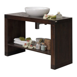 Macral - Nordico Bathroom Vanity, Walnut - Simple elegance for your contemporary bathroom. This solid wood vanity in walnut finish is gracefully complemented by a white ceramic vessel sink. You can coordinate it with the matching Nordico linen cabinet and mirror for a perfectly harmonious look.