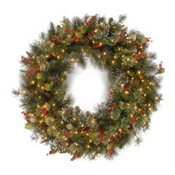 Wintry Pine Pre-Lit Christmas Wreath with Pine Cones and Red Berries