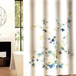 Printemps Floral Fabric Shower Curtain -