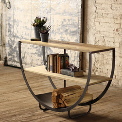 "Semi-Circle Console With Two Wooden Shelves And Metal Bottom - These unique, hand-crafted accessories are imported from small cottage industries in Colombia, Honduras, Haiti, Morocco, and more. Dimensions: 50""w x 15""d x 34""h"