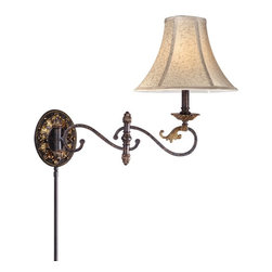 Vaxcel Lighting - Vaxcel Lighting CA-WLS001WA Caesar Traditional Swing Arm Wall Sconce - Swing arm with 3-way switch, 8' cord with polarized plug and 3' cord cover included.