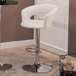 """Wildon Home � - Colorado City 29"""" Barstool with Footrest in White - Features: -Colorado City 29"""" Barstool with Footrest. -Contemporary style. -White color. -Curved upholstered track arm. -High polished chrome finish supports the chair. -Adjustable height mechanism for a height of 32.5 inches to 38 inches high. -Dimensions: 38"""" H x 22.5"""" W x 18"""" D."""