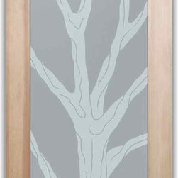 """Bathroom Doors - Interior Glass Doors Frosted - Barren Branches - CUSTOMIZE YOUR INTERIOR GLASS DOOR!  Interior glass doors or glass door inserts.  .Block the view, but brighten the look with a beautiful interior glass door featuring a custom frosted privacy glass design by Sans Soucie! Suitable for bathroom or bedroom doors, there are no clear areas on this glass.  All surface areas are etched/frosted to be 100% opaque.  Note that anything pressed up against the glass is visible, and shapes and shadows can be seen within approx. 5-12"""" of the glass.  Anything 5-12"""" from the glass surface will become obscured.  Beyond that distance, only lights and shadows will be discernible. Doors ship for just $99 to most states, $159 to some East coast regions, custom packed and fully insured with a 1-4 day transit time.  Available any size, as interior door glass insert only or pre-installed in an interior door frame, with 8 wood types available.  ETA will vary 3-8 weeks depending on glass & door type........  Select from dozens of sandblast etched obscure glass designs!  Sans Soucie creates their interior glass door designs thru sandblasting the glass in different ways which create not only different levels of privacy, but different levels in price.  Bathroom doors, laundry room doors and glass pantry doors with frosted glass designs by Sans Soucie become the conversation piece of any room.   Choose from the highest quality and largest selection of frosted decorative glass interior doors available anywhere!   The """"same design, done different"""" - with no limit to design, there's something for every decor, regardless of style.  Inside our fun, easy to use online Glass and Door Designer at sanssoucie.com, you'll get instant pricing on everything as YOU customize your door and the glass, just the way YOU want it, to compliment and coordinate with your decor.   When you're all finished designing, you can place your order right there online!  Glass and doors ship worldwide, custom pac"""