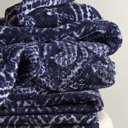 Indigo Batik Towel - These indigo towels would look amazing in a clean white bathroom.