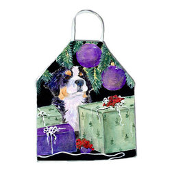 Caroline's Treasures - Bernese Mountain Dog Apron SS8582APRON - Apron, Bib Style, 27 in H x 31 in W; 100 percent  Ultra Spun Poly, White, braided nylon tie straps, sewn cloth neckband. These bib style aprons are not just for cooking - they are also great for cleaning, gardening, art projects, and other activities, too!