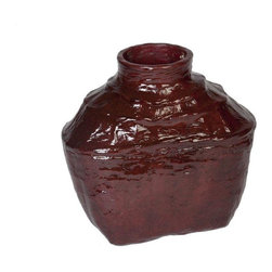 Pre-owned Small Crimson Lacquer Bamboo Wine Basket - This water tight wine basket made of bamboo makes a great accent piece or a vase! Fill it with flowers and place it on a kitchen table, self, or mantel. We have 2 available. Please contact support to purchase the pair.