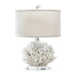 Regina Andrew Table Lamp, Mini Ribbon Coral - This is such a beautiful lamp. I love the coral and Lucite on the base.