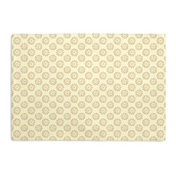 Metallic Gold Dot Custom Placemat Set - Is your table looking sad and lonely? Give it a boost with at set of Simple Placemats. Customizable in hundreds of fabrics, you're sure to find the perfect set for daily dining or that fancy shindig. We love it in this dainty gold metallic pinwheel handprinted on cream cotton. trust us: this small print makes big impact!