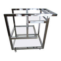 Midcentury Modern Bar Cart - I love the hyper-modern look of this gorgeous midcentury chrome and glass bar cart.
