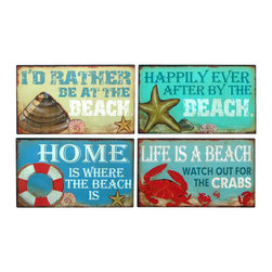 "Handcrafted Model Ships - Wooden Beach Theme Variety Signs 10"" - Set of 4 Vintage Wooden Beach Signs - Immerse yourself in the warm ambiance of the beach, imagining golden sands between your toes as you listen to the gentle sound of the surf, while you enjoy Handcrafted Nautical Decor's fabulous Beach Signs. Perfect for welcoming friends and family, or to advertise a festive party at your beach house, bar, or restaurant, this Wooden Beach Theme Variety Signs 10"" - Set of 4 sign will brighten your life. Place this beach sign up wherever you may choose, and enjoy its wonderful style and the delightful beach atmosphere it brings."