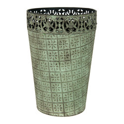 Oriental Furniture - Wrought Iron Patina Waste Basket - This charming wrought iron basket is the perfect way to add antique allure to any room! Embossed along its sides with floral designs, topped with elegant Victorian ironwork, and finished with a rich green patina, this handsome waste basket will add an elegant and refined accent to your home or office.
