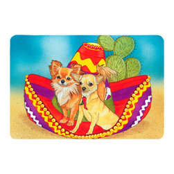 Caroline's Treasures - Chihuahua Kitchen or Bath Mat 24 x 36 - Kitchen or Bath Comfort Floor Mat This mat is 24 inch by 36 inch. Comfort Mat / Carpet / Rug that is Made and Printed in the USA. A foam cushion is attached to the bottom of the mat for comfort when standing. The mat has been permanently dyed for moderate traffic. Durable and fade resistant. The back of the mat is rubber backed to keep the mat from slipping on a smooth floor. Use pressure and water from garden hose or power washer to clean the mat. Vacuuming only with the hard wood floor setting, as to not pull up the knap of the felt. Avoid soap or cleaner that produces suds when cleaning. It will be difficult to get the suds out of the mat.