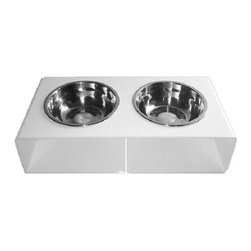 the Minimalist Feeder : modern dog bowl, Stark White - Modern minimalist design. Stark white acrylic frame in a high-gloss finish. Removable stainless steel bowls, 2.5 cup capacity. Designed for cats and small to medium-sized dogs.