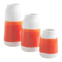 Robert Siegel Studio - Milk Vases, Bright Orange, Set of 3 - Handmade Porcelain Milk Vases. Made in limited editions and color combinations seasonally, these vases were double dipped by hand, creating their unique finish.