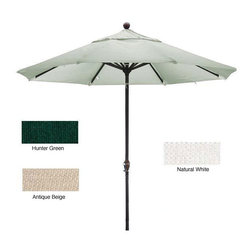 None - Premium Woven Olefin 9-foot Aluminum Patio Umbrella with Stand - Stylish 9-foot round umbrella features deluxe thick Olefin fabric with durable black pole and ribs Patio furnishing includes convenient crank open/push tilt mechanism Umbrella comes with heavy-duty 50-pound stand