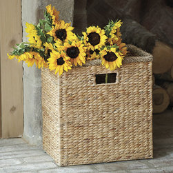 Ballard Designs - Water Hyacinth Bin - Handles make it easy to carry. Tuck it beneath an open console. Storage wrapped in warm, natural texture. This all-purpose bin holds anything and everything magazines, branches, rolled towels, toys and laundry. Hand woven of naturally strong water hyacinth over a sturdy metal frame.Water Hyacinth Bin features: . .