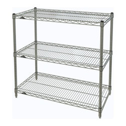 InterMetro Industries - Metro Shelving Unit - 36x18x33, Chrome - As the original wire storage shelving system and still the industry leader, Metro shelving continues to evolve and aims to meet the diversity of todays storage challenges. These professional grade units hold more weight. The three (3) shelves can be positioned, or re-positioned, at precise 1 increments along the length of the posts.  Open wire design minimizes dust accumulation and allows for free circulation of air and greater visibility of stored items. Casters (sold separately) available for mobile applications. This post-based shelving system, created in 1965, is recognized worldwide as the most popular commercial shelving system ever.  Assembly required