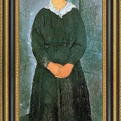 """Art MegaMart - Amedeo Modigliani The Servant Girl - 14"""" x 28"""" Framed Premium Canvas Print - 14"""" x 28"""" Amedeo Modigliani The Servant Girl framed premium canvas print reproduced to meet museum quality standards. Our Museum quality canvas prints are produced using high-precision print technology for a more accurate reproduction printed on high quality canvas with fade-resistant, archival inks. Our progressive business model allows us to offer works of art to you at the best wholesale pricing, significantly less than art gallery prices, affordable to all. This artwork is hand stretched onto wooden stretcher bars, then mounted into our 3 3/4"""" wide gold finish frame with black panel by one of our expert framers. Our framed canvas print comes with hardware, ready to hang on your wall.  We present a comprehensive collection of exceptional canvas art reproductions by Amedeo Modigliani."""