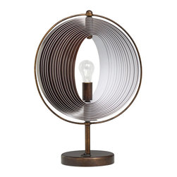 Kichler Lighting - Kichler Lighting Whirl Traditional Accent Lamp X-29807 - This unique 1 light Whirl portable accent lamp will make a bold statement in your home. Featuring a Collapsible Faux Wood Grain shade and a luxurious Bronze finish, this design will effortlessly elevate any setting in you home.