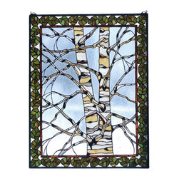 Meyda Tiffany - Meyda Tiffany Birch Tree in Winter Birch Tree In Winter Window X-56237 - Green leaves create a beautiful frame on this Meyda Tiffany window. From the Birch Tree in the Winter Collection, this charming design features a muted blue sky with soft white clouds that work to accentuate the bare branches and light tones of the centered birch tree.