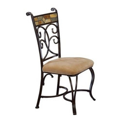 Pompeii Dining Chair, Black/Gold - Wrought iron gives a vintage charm to this otherwise simple seat.