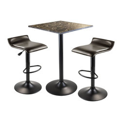 Winsome Wood - 3-Pc Counter Height Table Set - Includes square table and two stools in PU leather. Table with stylish faux marble top in brown tones. Chic and durable table. Black metal accent based gives a sophisticated look. Black finish metal leg and base. Air lift adjustable, swivel, upholstered stools in espresso finish. Adjusts seat between 26 in. - 33 in.. Made from marble, metal. Black finish. Assembly required. Stool at tallest position: 15.16 in. W x 15.29 in. D x 33.84 in. H. Table: 23.62 in. W x 23.62 in. D x 35.43 in. H