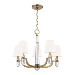 Hudson Valley Lighting - Hudson Valley Lighting Dayton Transitional Chandelier X-SW-BGA-589 - Dayton's strong arms hold smooth crystal columns, for a look of confident glamour. The chandelier's central crystal teardrop showcases the material's pristine beauty. Softly textured tailored shades balance the sheen of Dayton's glass and metal.