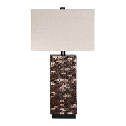 """Lamps Plus - Contemporary Cimmaron Wood Table Lamp - The design is contemporary yet timeless. Constructed out of wood this piece features a stylish color scheme. The piece is beautiful and ready to brighten up your home decor. Contemporary table lamp. Cimmaron finish. Wood construction. Lampshade is cotton polyester blend. Maximum 100 watt or equivalent bulbs for all three lamps (not included). Rotary switch. Shade is 16"""" across the top and 9"""" deep 16"""" across the bottom and 9"""" deep and 10 1/2"""" high. 31"""" high.   Contemporary table lamp.  Cimmaron finish.  Wood construction.  Lampshade is cotton polyester blend.  Maximum 100 watt or equivalent bulbs for all three lamps (not included).  Rotary switch.  Shade is 16"""" across the top and 9"""" deep 16"""" across the bottom and 9"""" deep and 10 1/2"""" high.  31"""" high."""