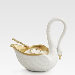 Swan Salt Cellar with 14kt Gold Accents & Spoon