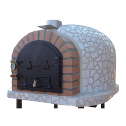 Outdoor / Garden Wood Fired Pizza Oven w/ Mosaic, Cast Iron Door, Insulation, Wh - Wood Fired Pizza Oven with Mosaic Tiles and Cast Iron Door!