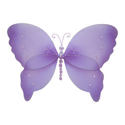 Bugs-n-Blooms - Hanging Butterfly Medium Purple Crystal Nylon Butterflies Wall Ceiling Decoratio - Hanging Crystal Butterfly - Beautiful nylon hanging kids wall or ceiling decor, baby decoration, childrens decorations. Ideal for Baby Nursery Kids Bedroom Girls Room. This nylon butterfly has sequins, pretty bead