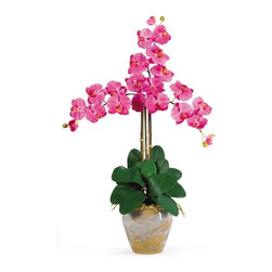 """Triple Stem Phalaenopsis Silk Orchid Arrangement - Looking for the perfect orchid with absolutely no maintenance? The 27' triple stem phalaenopsis is a classic orchid to be enjoyed by all, even the most discriminating customer. Each silk plant comes with three beautiful phalaenopsis stems each with 6 flowers and 2 buds. Finished with a gorgeous glazed ceramic vase designed to coordinate with any decor, this beauty will bring color and life into any space. Color: Dark Pink, Height: 27"""", Vase: H 7"""" W 8-1/2"""" Height= 27 in x Width= 23 in x Depth= 23 in"""