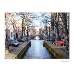 "Lisa Linard Photography - ""Amsterdam Canal"" Photograph by Lisa Linard - Transport yourself to the magical city of Amsterdam without leaving the house. This Lisa Linard photograph brings the lines, the light and the laid-back charm of an autumn afternoon stroll along a canal."
