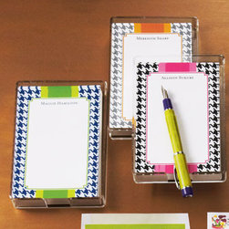 """Boatman Geller - Boatman Geller Houndstooth Note Sheets - Houndstooth checks, a splash of color, and your name. Select color when ordering. Note sheets are 5"""" x 6"""" and come in an acrylic holder. Personalization is up to 39 characters/spaces in style shown. Set of 150 loose note sheets and holder arrives in...."""