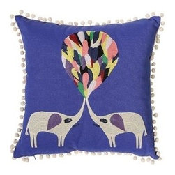 Villa Home - Crewel Elephant Pillow - Your design inspiration will soar with our big, bold and beautiful Crewel Elephant Pillow.  Each handcrafted embroidered pillow is completed with pom pom edging.