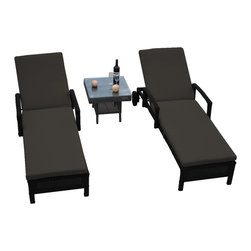 "Reef Rattan - Reef Rattan 3 Piece Islander Chaise Lounger Set Black Rattan / Mushroom Cushions - Reef Rattan 3 Piece Islander Chaise Lounger Set Black Rattan / Mushroom Cushions. This patio set is made from all-weather resin wicker and produced to fulfill your needs for high quality. The resin wicker in this patio set won't fade, shrink, lose its strength, or snap. UV resistant and water resistant, this patio set is durable and easy to maintain. A rust-free powder-coated aluminum frame provides strength to withstand years of use. Sunbrella fabrics on patio furniture lends you the sophistication of a five star hotel, right in your outdoor living space, featuring industry leading Sunbrella fabrics. Designed to reflect that ultra-chic look, and with superior resistance to the elements in a variety of climates, the series stands for comfort, class, and constancy. Recreating the poolside high end feel of an upmarket hotel for outdoor living in a residence or commercial space is easy with this patio furniture. After all, you want a set of patio furniture that's going to look great, and do so for the long-term. The canvas-like fabrics which are designed by Sunbrella utilize the latest synthetic fiber technology are engineered to resist stains and UV fading. This is patio furniture that is made to endure, along with the classic look they represent. When you're creating a comfortable and stylish outdoor room, you're looking for the best quality at a price that makes sense. Resin wicker looks like natural wicker but is made of synthetic polyethylene fiber. Resin wicker is durable & easy to maintain and resistant against the elements. UV Resistant Wicker. Welded aluminum frame is nearly in-destructible and rust free. Stain resistant sunbrella cushions are double-stitched for strength and are fully machine washable. Removable covers made with commercial grade zippers. Tables include tempered glass top. 5 year warranty on this product. Chaise Lounger (2): W 29"" D 78"" H 10"", Coffee Table: W 20"" D 18"" H 10"""